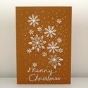 Hópelyhes karácsonyi képeslap, Naptár, képeslap, album, Karácsonyi, adventi apróságok, Képeslap, levélpapír, Ajándékkísérő, képeslap, Saját tervezésű, mézeskalács barna papírra készült kézzel rajzolt karácsonyi képeslap barna ékkövekk..., Meska