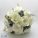 Ekrü kökény menyasszonyi szett rendelhető!, Esküvő, Esküvői csokor, Virágkötés, A szett tartalma:  1db ekrü selyemrózsából , kék selyemrózsa bimbókból és szamárkenyér szárazvirág ..., Meska