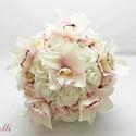 Bellefleur orchideás menyasszonyi csokor - Rendelhető!, Esküvő, Esküvői csokor, Virágkötés, Menyasszonyi csokor  Fehér és rózsaszín habrózsából, valamint blush rózsaszín selyemorchideából köt..., Meska