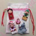 Piroska és a farkas ujjbábkészlet, Baba-mama-gyerek, Játék, Báb, Készségfejlesztő játék, Baba-és bábkészítés, Hímzés, Az ujjbábokat filc anyagból készítettem, kézzel hímeztem minden apró részletét. A hozzá tartozó báb..., Meska