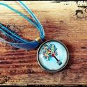 Nyaklánc kék virágos üveglencse medállal, kék zsinórral, Ékszer, óra, Nyaklánc, , Meska