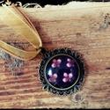 Nyaklánc vintage jellegű virágos üveglencse medállal, Ékszer, óra, Nyaklánc, , Meska
