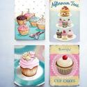 Cupcakes mágnes szett négy darabos, Dekoráció, Konyhafelszerelés, Otthon, lakberendezés, Hűtőmágnes, Mindenmás, Fenyőfa alapra kasírozott mágnes szett,régies,kopottas hatású, a szín egy-két árnyalatot eltérhet. ..., Meska