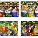 Ünnepi hűtőmágnes szett, Konyhafelszerelés, Dekoráció, Ünnepi dekoráció, Karácsonyi, adventi apróságok, Mindenmás, Mdf alapra kasírozott hűtőmágnes. Egyenkénti mérete:5x7cm. Tisztítás száraz törlővel. Csini kis bop..., Meska