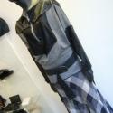 Zippzáros felső, Ruha, divat, cipő, Női ruha, Felsőrész, póló, Varrás, Kötött jersey és műbőr hatású textil kombinációjával készítettem ezt a rusztikus zippzárral csukódó ..., Meska