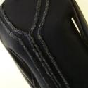 Fekete  mintás-zsebes pulóver, Ruha, divat, cipő, Női ruha, Felsőrész, póló, Kötés, Varrás, Gépi kötés,és kétféle anyag kombinációjával készítettem ezt a  pulóvert.Kétoldalt  pamutjerseyből ké..., Meska