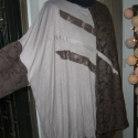 Drapp-barna csipkés  felső, Ruha, divat, cipő, Női ruha, Felsőrész, póló, Varrás, Kétféle anyag kombinációjával készítettem ezt a ONE SIZE méretű bő felsőrészt.  Kellemes viselet., Meska