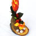 """""""AFRIKA""""  asztaldísz, Dekoráció, Otthon, lakberendezés, Virágkötés, Asztali dísz, amelynek alapja lakkozott faszelet,száraz terméssel, gyöngyökkel,kagylóhéjjal és szal..., Meska"""