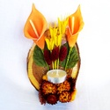 mécses tartó, Dekoráció, Virágkötés, halottak napi dísz, amelynek alapja lakkozott faszelet,száraz terméssel,száraz virággal,narancssárg..., Meska