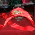 Kalocsai híimzett párta, piros selyem, Esküvő, Ruha, divat, cipő, Hajbavaló, Menyasszonyi ruha, Hímzés, Varrás, Nagyon szép selyem anyagból, kalocsai himzéssel készített piros párta menyecske ruhához, alkalomra,..., Meska