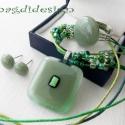 Zöld-alma-menta üvegékszer szett nyaklánc, gyűrű, fülbevaló, Ékszer, óra, Nyaklánc, Gyűrű, Fülbevaló, Ékszerkészítés, Üvegművészet, Áttetsző alma zöld, pasztell menta zöld és dichroic üveg felhasználásával készült a medál, a fülbev..., Meska