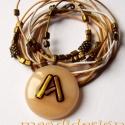 Anita, Andrea, Abigél üvegékszer nyaklánc , Ékszer, óra, Nyaklánc, Ékszerkészítés, Üvegművészet, Barackvirág színű és arany dichroic üvegek felhasználásával készült a medál, olvasztásos technikáva..., Meska