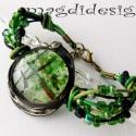 Zöld bolygó üvegékszer karkötő , Ruha, divat, cipő, Ékszer, óra, Karkötő, Ékszerkészítés, Üvegművészet, Téli-tavaszi ruhák tökéletes vagány kiegészítője lehet ez a karkötő. Zöld levél mintás üveg felhasz..., Meska