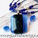 Kék csillámos üvegékszer szett,  nyaklánc, fülbevaló, Ékszer, óra, Nyaklánc, Fülbevaló, Ékszerszett, Ékszerkészítés, Üvegművészet, Áttetsző kék üveg és kék aventurin felhasználásával készült a medál és a fülbevaló, olvasztásos tec..., Meska