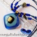 Kék-arany üvegékszer szett nyaklánc, fülbevaló, Ékszer, óra, Nyaklánc, Fülbevaló, Ékszerszett, Ékszerkészítés, Üvegművészet, Áttetsző kék, halvány farmer kék üvegek és arany dichroic üveg felhasználásával készült a medál és ..., Meska