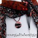 Tüzes márványos üvegékszer szett, nyaklánc, gyűrű, fülbevaló, Ékszer, óra, Fülbevaló, Nyaklánc, Ékszerszett, Ékszerkészítés, Üvegművészet, Tüzes narancs-fekete mintás üveg felhasználásával készült a medál, a gyűrű és a fülbevaló, olvasztá..., Meska