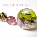 Magnólia virágzás üvegékszer szett, gyűrű, fülbevaló, Ékszer, óra, Gyűrű, Fülbevaló, Ékszerszett, Ékszerkészítés, Üvegművészet, Áttetsző zöld, rózsaszín, mintás üveg felhasználásával készült a gyűrű és a fülbevaló, olvasztásos ..., Meska