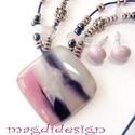 Lila-rózsaszín üvegékszer szett, nyaklánc, fülbevaló, Ékszer, óra, Nyaklánc, Fülbevaló, Ékszerszett, Ékszerkészítés, Üvegművészet, Rózsaszín-lila-fehér mintás üveg felhasználásával készült a medál és a fülbevaló, olvasztásos techn..., Meska