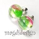 Magnólia virágzás üvegékszer fülbevaló, Ékszer, óra, Baba-mama-gyerek, Ruha, divat, cipő, Fülbevaló, Ékszerkészítés, Üvegművészet, Áttetsző zöld, rózsaszín, mintás különleges ékszerüveg felhasználásával készült a fülbevaló, olvasz..., Meska