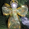 Organzából készült kézműves angyal 10 cm-es zöld-arany, Dekoráció, Karácsonyi, adventi apróságok, Ünnepi dekoráció, Karácsonyfadísz, , Meska