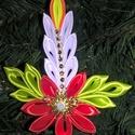 Szaténból készült kézműves gyertya Karácsonyfadísz 14 cm-es piros, Dekoráció, Karácsonyi, adventi apróságok, Ünnepi dekoráció, Karácsonyfadísz, , Meska