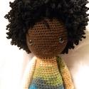 Néger baba , Játék, Baba játék, Játékfigura, Horgolás, Kb 50 cm magas baba.  A ruháját színátmenetes Aliz batik fonálból készítettem, a haja Red Heart Bou..., Meska