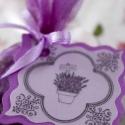 Levendula zsákocska, Dekoráció, Otthon, lakberendezés, Mindenmás, Varrás, Levendula virág, lila organza zsákban, szatén szalaggal átkötve.  A levendula virága harmóniát tere..., Meska