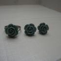 Rózsás szett - zöld, Ékszer, óra, Gyűrű, Fülbevaló, , Meska