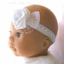 Hófehér Ünnepi fejdísz babáknak - hajpánt baby, Ruha, divat, cipő, Baba-mama-gyerek, Hajbavaló, Hajpánt, Varrás, Baba fejpánt,  hófehér színében tündöklő rugalmas szalagon édes hófehér szatén virág gyönggyel, orga..., Meska