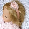 Vintage barack fejpánt - kislánynak esküvőre, fotózáshoz, szülinapra , Ruha, divat, cipő, Hajbavaló, Hajpánt, Ékszerkészítés, Varrás, Édes barack színű selyem szatén virágot készítettem, barack finom masni mintás csipkével és gyöngyök..., Meska