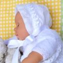Hófehér keresztelő főkötő, megrendelhető  baba  fotózáshoz, szülinapra, Baba-mama-gyerek, Ruha, divat, cipő, Kendő, sál, sapka, kesztyű, Sapka, Varrás, Megrendelhető hófehér vintage baba főkötő keresztelőre, fotózáshoz, szülinapra. Anyaga és  fazonja a..., Meska