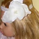 Orhidea ekrü hajpánt - esküvő, keresztelő kárcsonyi baba hajpánt, Baba-mama-gyerek, Ruha, divat, cipő, Baba-mama kellék, Hajbavaló, Varrás, Orhidea hajpánt most ekrü színben és  csipke rugalmas szalagon. Készülhet fehér, rózsaszín, ekrü, bé..., Meska