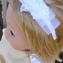 Izabella hajpánt, gyöngyös alkalmi fejdísz kislány, koszorúslány, Ruha, divat, cipő, Gyerekruha, Gyerek (4-10 év), Varrás, Ékszerkészítés, Fehér alkalmi hajpántot készítettem, gyöngyös organza,  könnyű, kellemes darab.  Gyermek méretű a h..., Meska