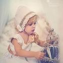 Bonnet baba főkötő vintage stílusban, Ruha, divat, cipő, Gyerekruha, Baba (0-1év), Varrás, Keresztelőre, újszülött fotózásokhoz készülnek elsősorban, régies stílusban, pamutvászon, csipke, m..., Meska