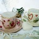 Gyertya  Fehér-Rózsaszín, Otthon, lakberendezés, Gyertya, mécses, gyertyatartó, Decoupage, szalvétatechnika, Gyönyörű virágos csészékbe öltöztetett gyertyák.   Csészealj átmérő: 10 cm  Pohár magasság: 5 cm, á..., Meska