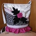 Irene rózsája, Táska, Válltáska, oldaltáska, Mindenmás, Varrás, Fehér alapanyagból készült egyedi táska,rózsaszin taft anyagból hajtogatott rózsával,csipkével disz..., Meska
