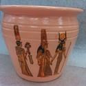 Egyiptomi kaspó, Dekoráció, Esküvő, Dísz, Nászajándék, Festett tárgyak, Kerámia, Narancssárga egyiptomi díszítéssel ellátott virág kaspó. A kaspó anyaga agyag, majd akril festékkel..., Meska