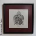Buddha feje - Egyedi tervezésű, keretezett zentangle kép, Dekoráció, Otthon, lakberendezés, Dísz, Falikép, Fotó, grafika, rajz, illusztráció, 32x32 cm-es, bordó paszpartuval és vékony, fekete fával keretezett, matt üveggel borított, egyedi t..., Meska