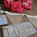 LOVE Kézzel festett dekor tábla, Dekoráció, Dísz, Kép, , Meska