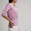 Fehér kordbársony szoknya, aszimmetrikus rózsaszín csíkozású csípőrésszel, Ruha, divat, cipő, Női ruha, Szoknya, Varrás,  Fiatalos, pörgős aljú szoknya (félkörből szabott), a csípőrészen mályvaszínű fonal applikációk (vé..., Meska