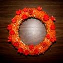 Vöröslencsés virágos,  koszorú, Dekoráció, Otthon, lakberendezés, Mindenmás, Mindenmás, Szalmakoszorú alapból készült, vörös lencsével és virágterméssel díszítettem,, Meska