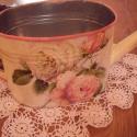 Vintage rózsás kanna, Dekoráció, Otthon, lakberendezés, Dísz, Kaspó, virágtartó, váza, korsó, cserép, Decoupage, szalvétatechnika, Vintage rózsás kanna virágok tartására,nem lehet vele locsolni,csak dísz.szép dísze éehet nappalidn..., Meska