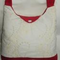 Kord válltáska, Táska, Válltáska, oldaltáska, Piros és tört fehér hímzett kord táska. Bélése világos drapp műszálas szövet, egy cipzáras, és egy o..., Meska