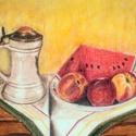 Csendélet, Képzőművészet, Festmény, Pasztell, Gyümölcsös csendélet. Pasztell,  35x45 cm., Meska