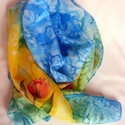 Tulipános sál, Ruha, divat, cipő, Kendő, sál, sapka, kesztyű, Sál, Kézzel festett, tulipános hernyóselyem sál. Mérete 42x180 cm., Meska