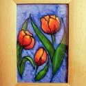 Tulipánok, Dekoráció, Kép, Kézzel festett selyem kép. Mérete. kerettel 16x21, keret nélkül 9x14 cm., Meska