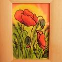 Pipacaok, Dekoráció, Kép, Kézzel festett selyemkép. Mérete: kerettel 16x21, keret nélkül 9x14 cm., Meska