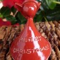 Angyalka - karácsonyfadísz (Merry Christmas- piros), Dekoráció, Ünnepi dekoráció, Karácsonyi, adventi apróságok, Karácsonyfadísz, Kerámia, Igazi karácsonyi angyalka - egy ilyennel kívánni boldog ünnepeket igazán kuriózumnak számít...  Pir..., Meska