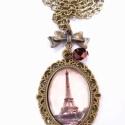 Egy darabka Párizs, Ékszer, óra, Nyaklánc, Ékszerkészítés, Eiffel-tornyot ábrázoló képet rejtettünk üveglencse alá, melyet még egy bronz színű üveggyöngy és e..., Meska