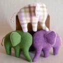 Gyapjú elefánt család, Játék, Dekoráció, Játékfigura, Plüssállat, rongyjáték, , Meska